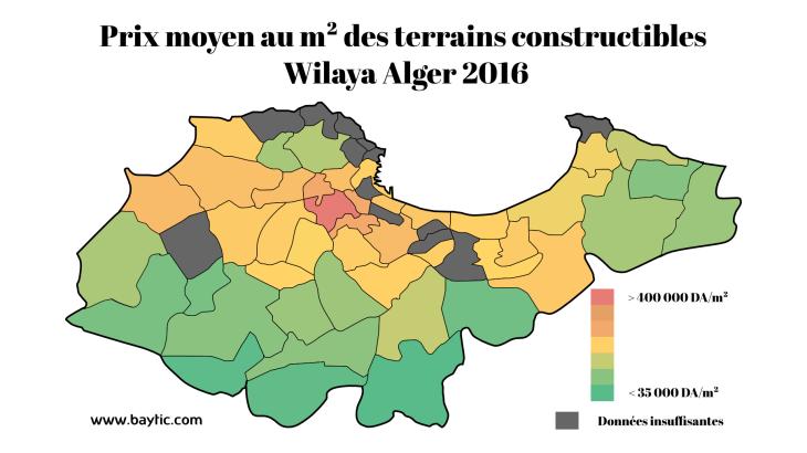 Prix moyen des terrains dans la wilaya d'alger